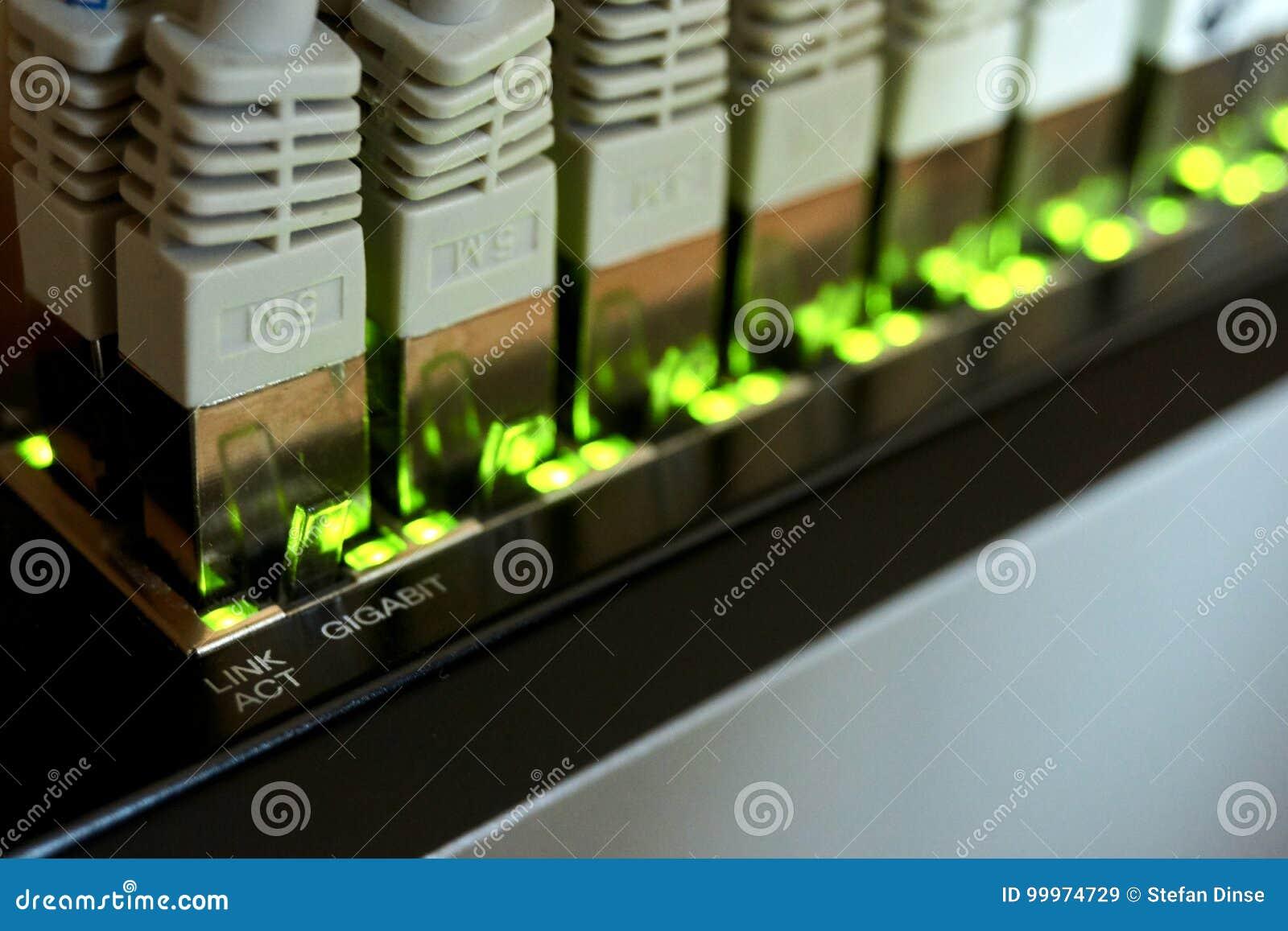 Conexão dos ethernet do gigabit