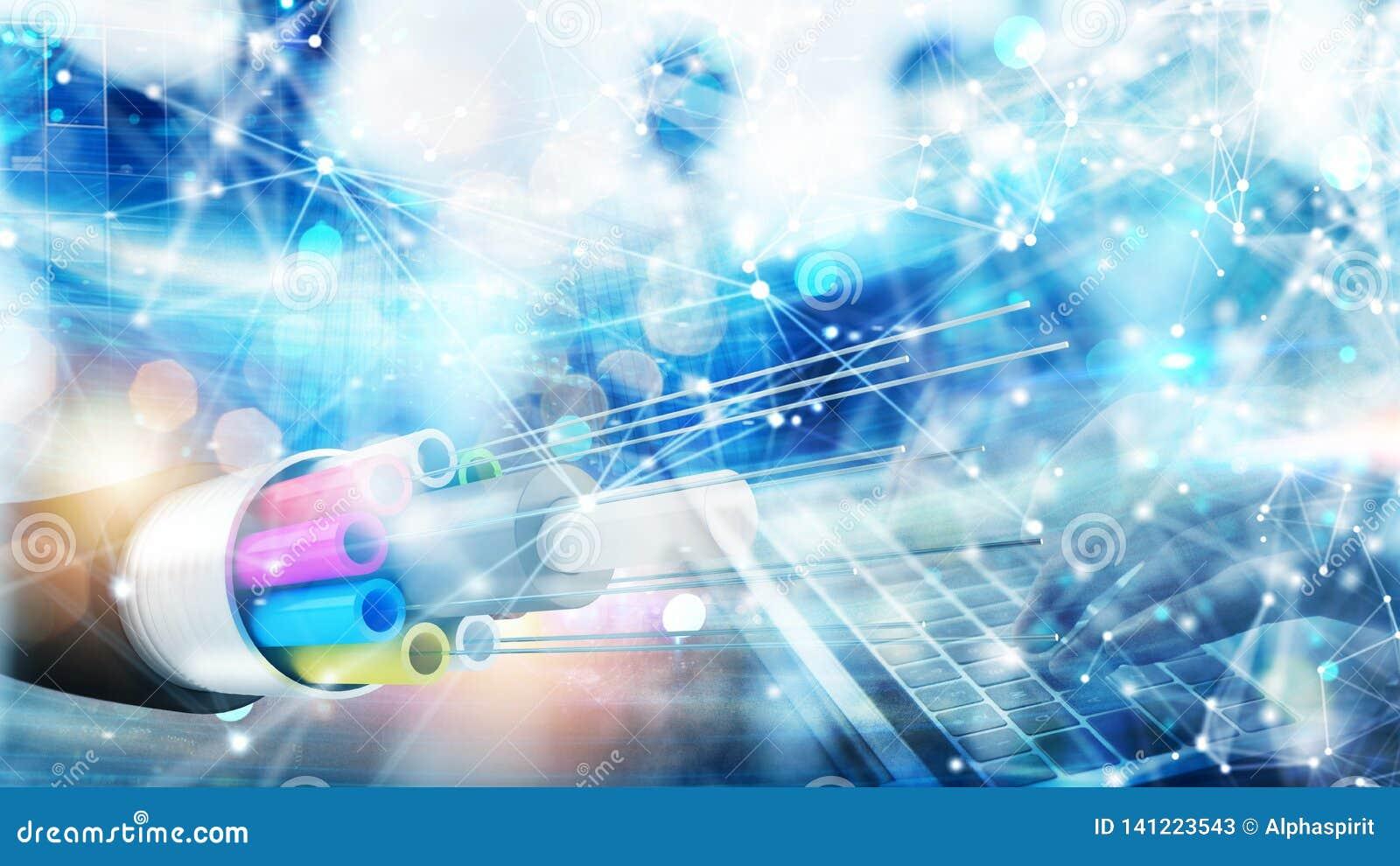 Conexão a Internet com fibra ótica Conceito do Internet rápido