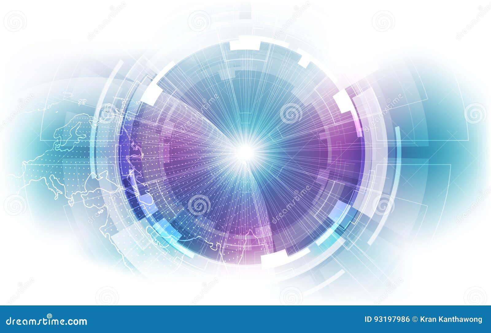 Conexión abstracta de la tecnología digital en el fondo del concepto de la tierra, ejemplo del vector