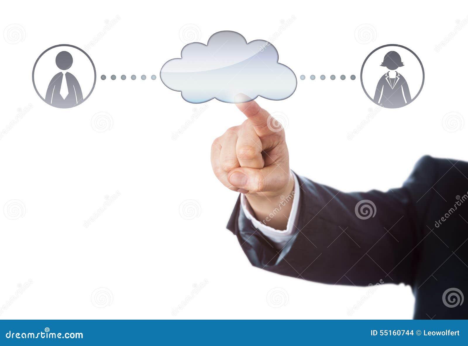 Conexión con dos oficinistas vía la nube