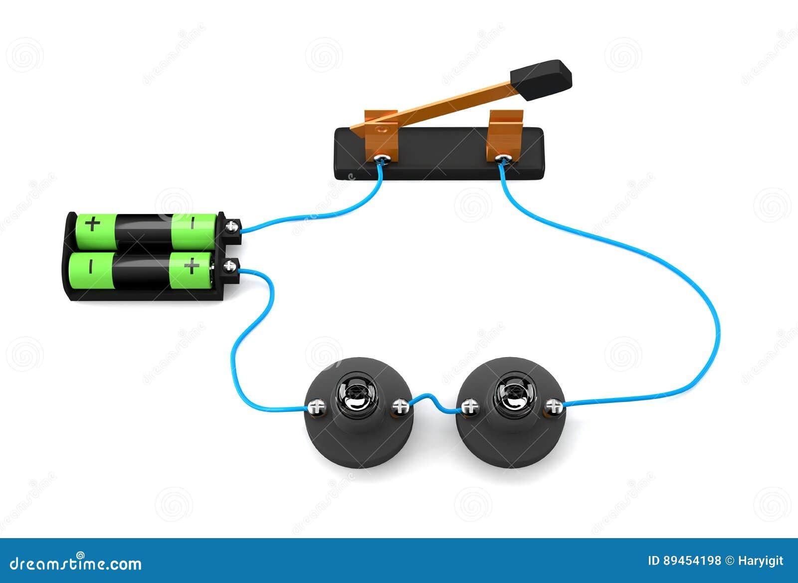 Conexión de serie simple del circuito eléctrico en el fondo blanco