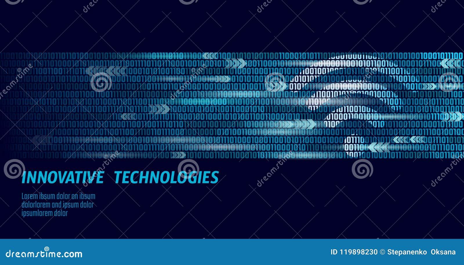 Conexión inalámbrica del wifi de Internet Números de flujo grandes del código binario de los datos Conexión de alta velocidad de