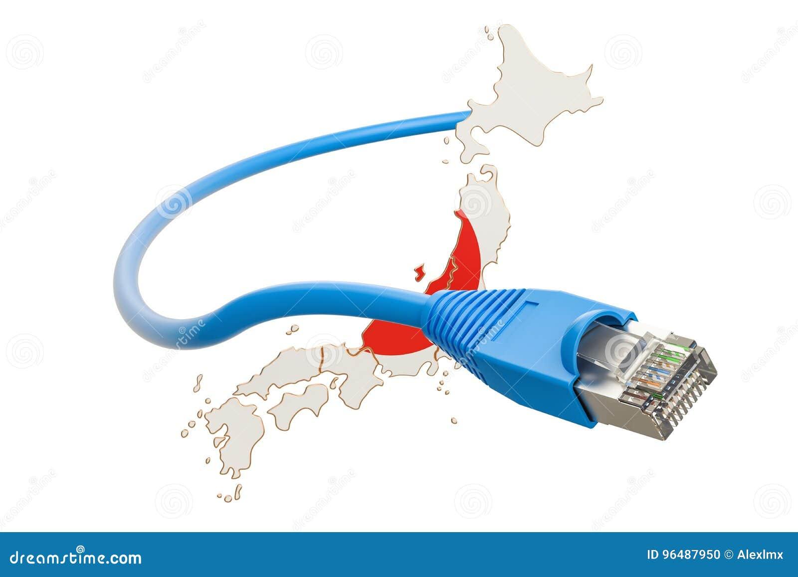 Conexión a internet en el concepto de Japón representación 3d
