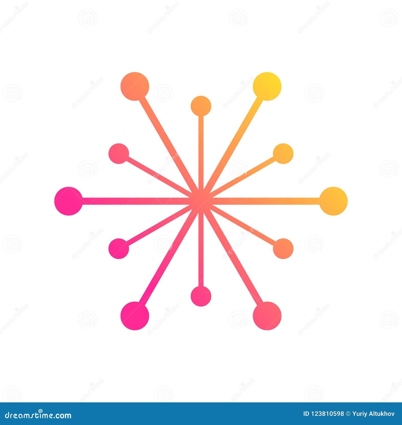 Conexiones de red global con los puntos y las líneas