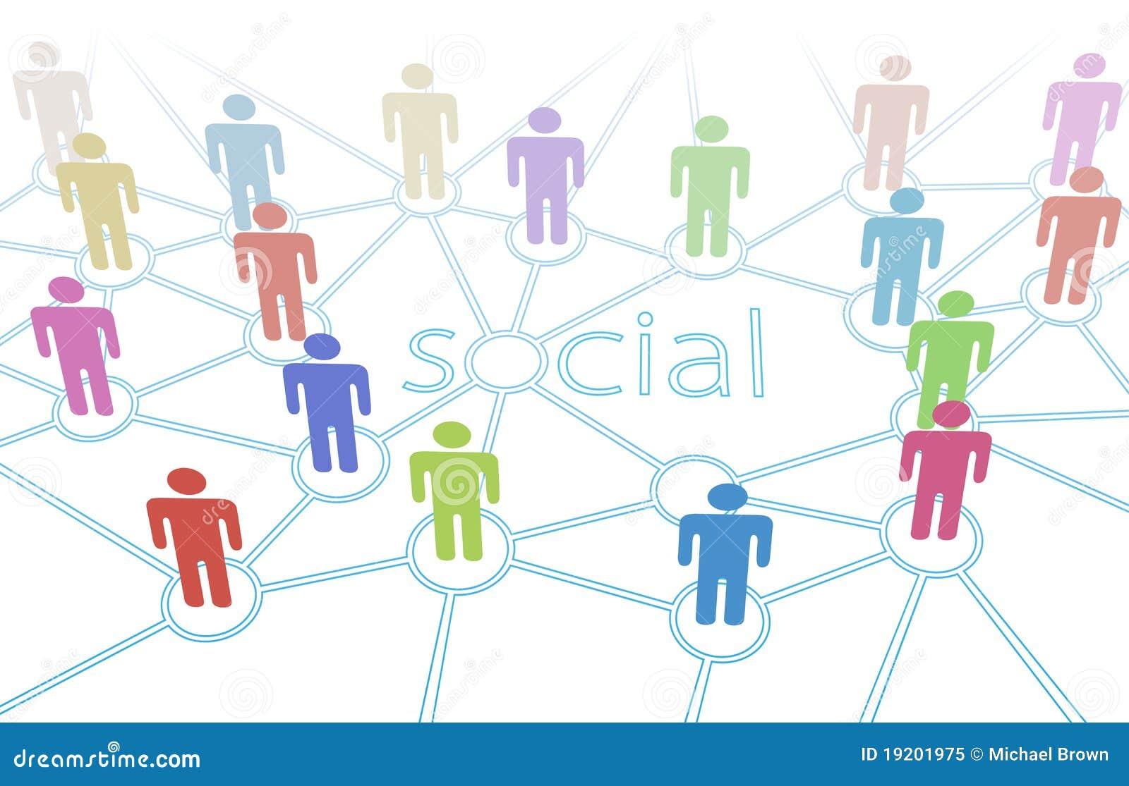 Conexiones sociales de los media de la gente del color de la red