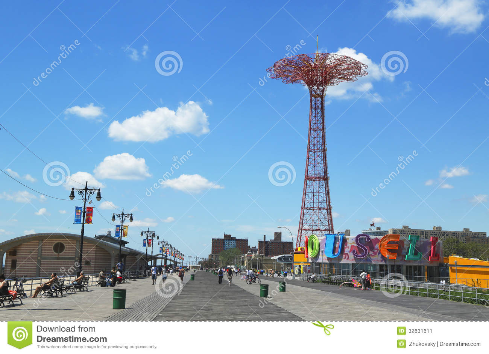 Coney Island Boardwalk, parachute jump tower and restored historical B&B carousel in Brooklyn