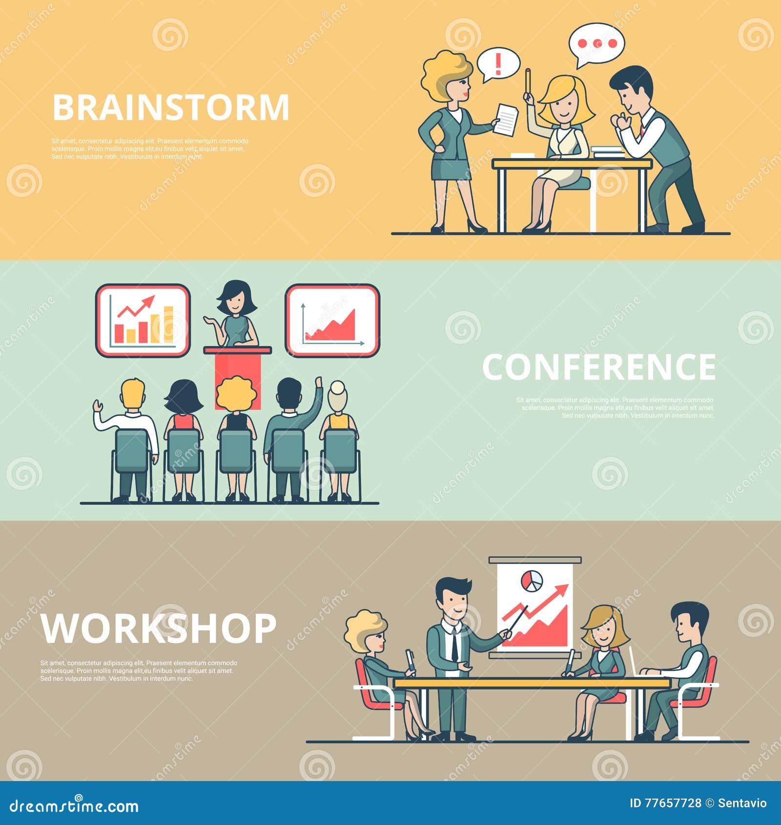 Conférence plate linéaire d atelier d homme d affaires