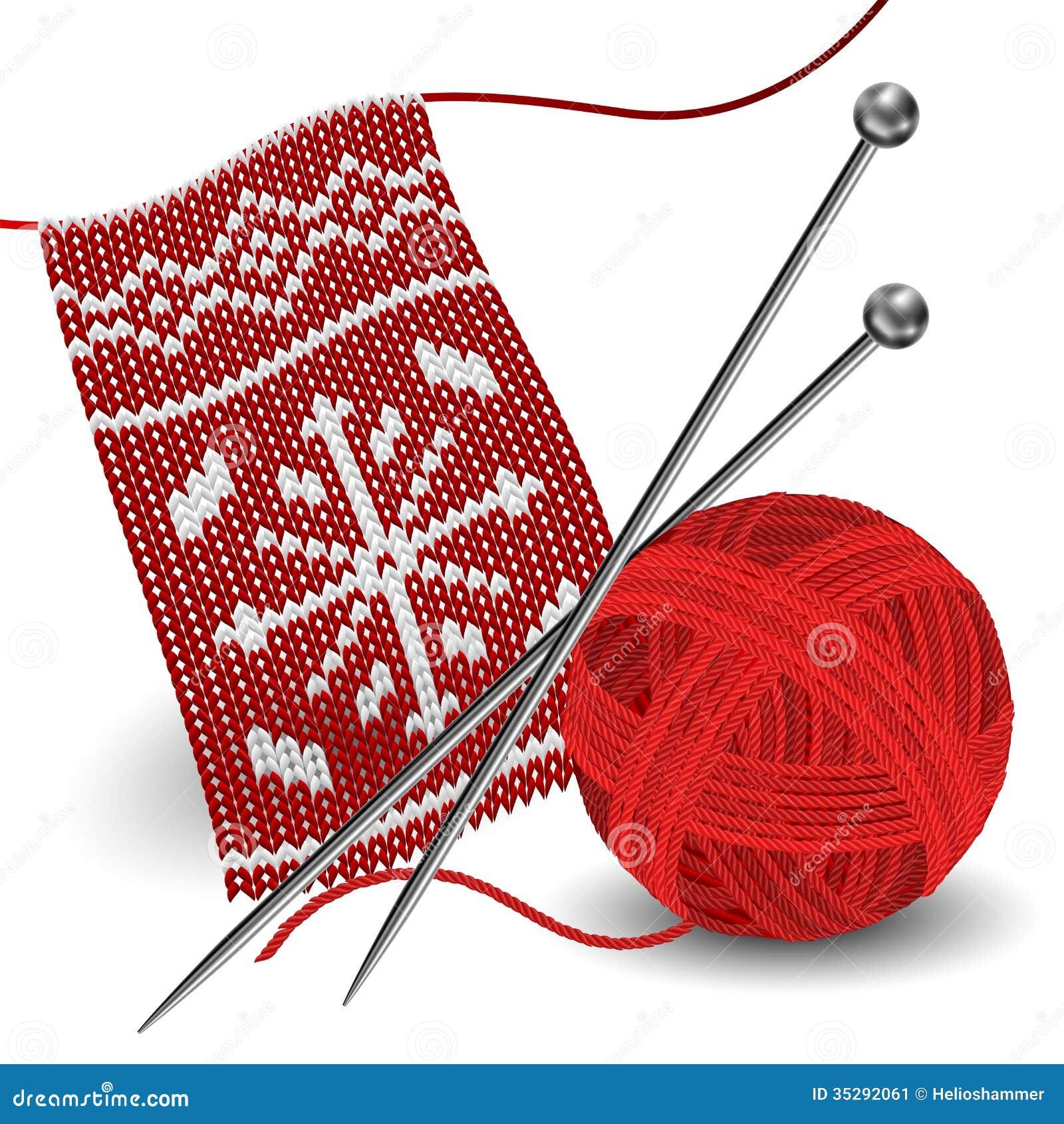 Confecção de malhas com a bola da agulha e do fio
