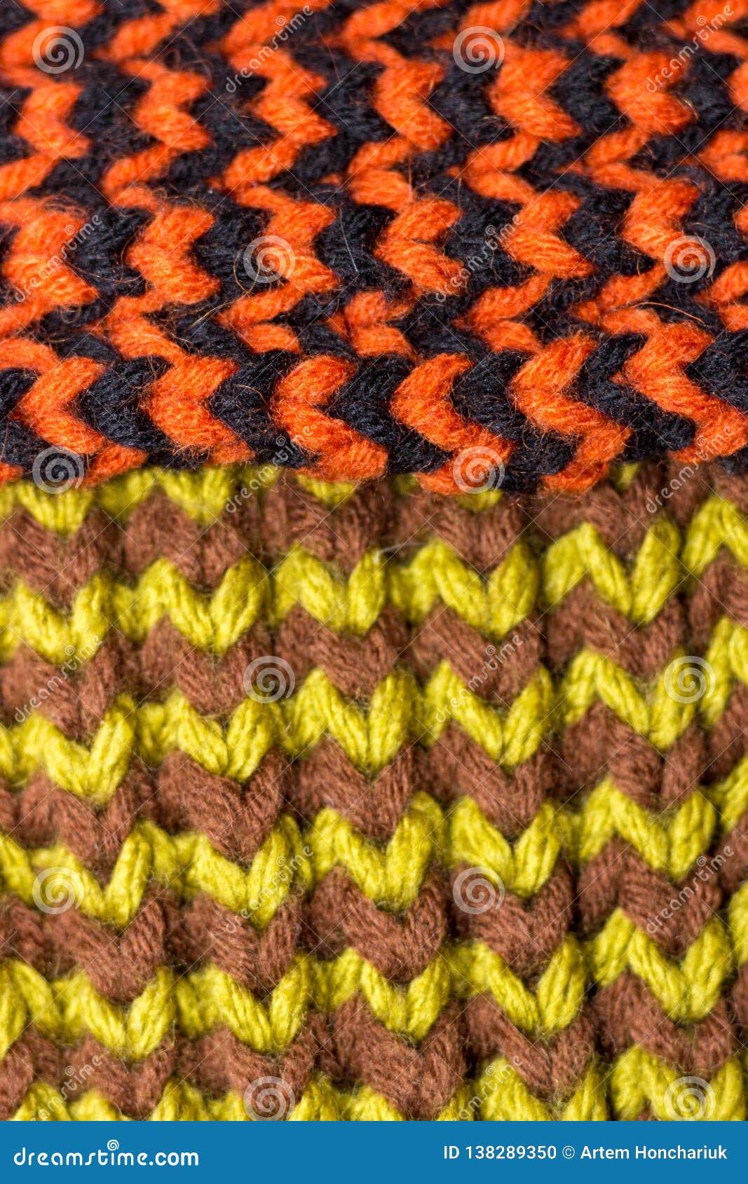 Confecção de malhas Textura feita malha fundo Agulhas de confecção de malhas brilhantes