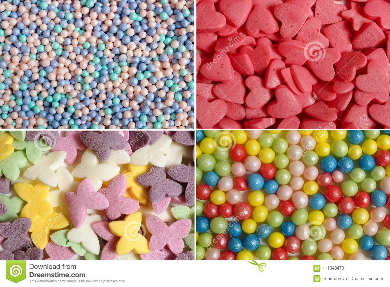Confectionery decorations for cake.