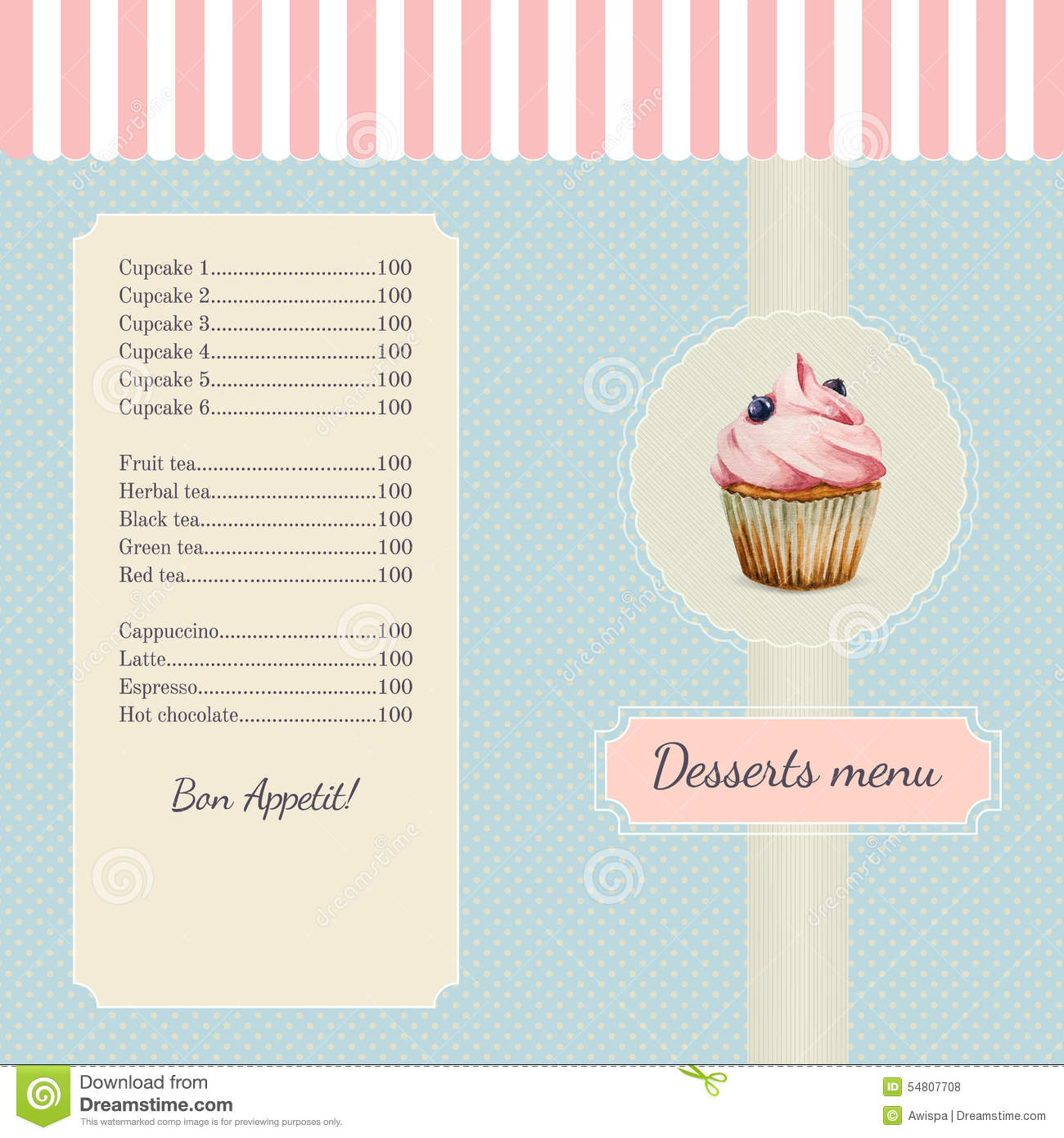 confectionery menu template with watercolor stock vector