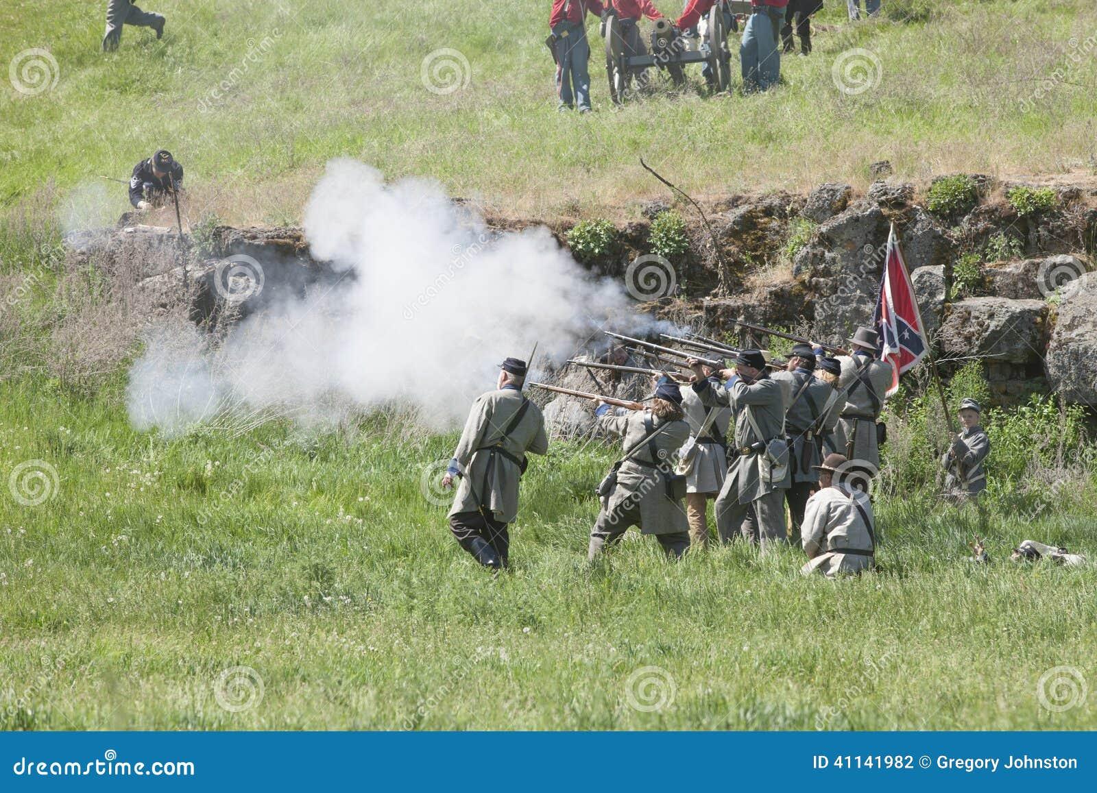 Confederate Army Reenactors In Mock Battle  Editorial