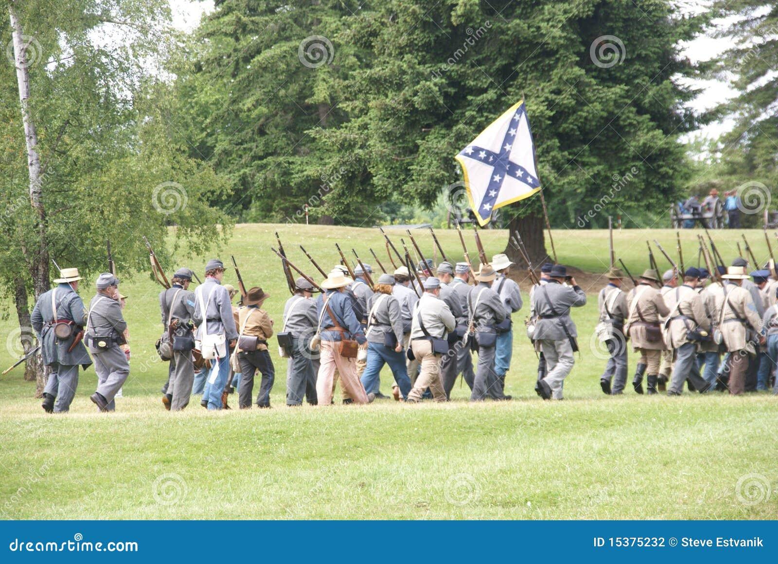 Confederate Civil War reenactors marching