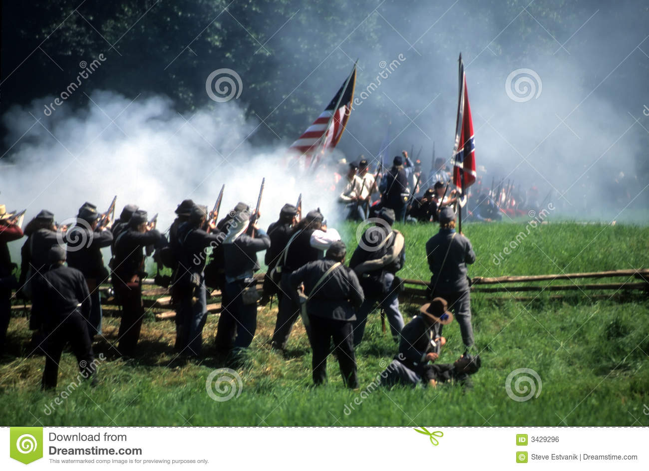 Confederates volley fire