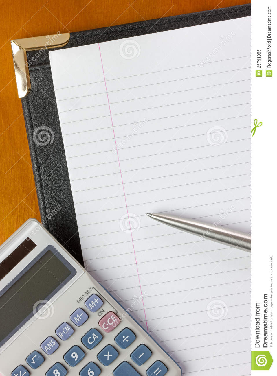 Conference Folder Calculator And Pen Royalty Free Stock