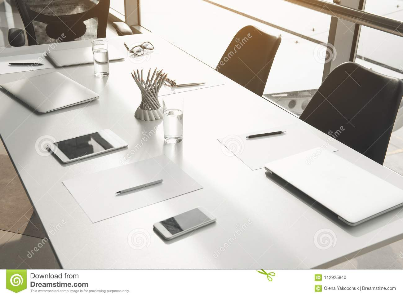 Conference Furniture With Items Of Workers Stock Photo Image Of