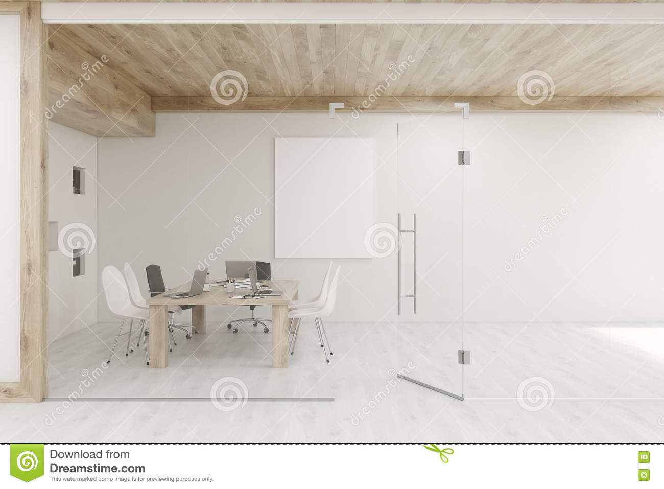 Conference Room With Glass Walls And Doors Stock Illustration