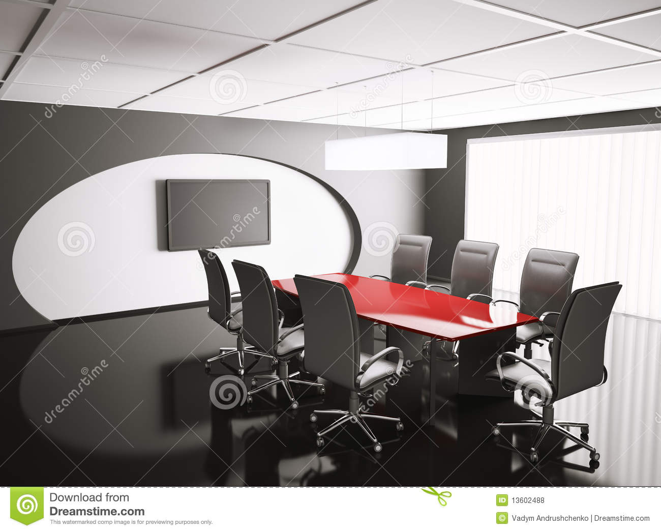 Conference Room With Lcd And Red Table D Stock Illustration - Red conference table
