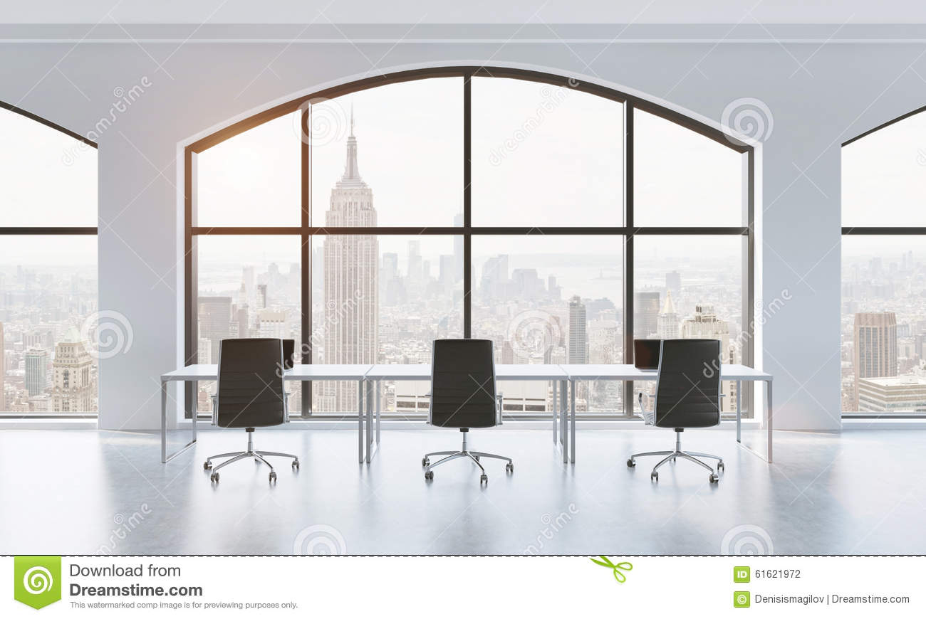 A Conference Room In A Modern Panoramic Office With New