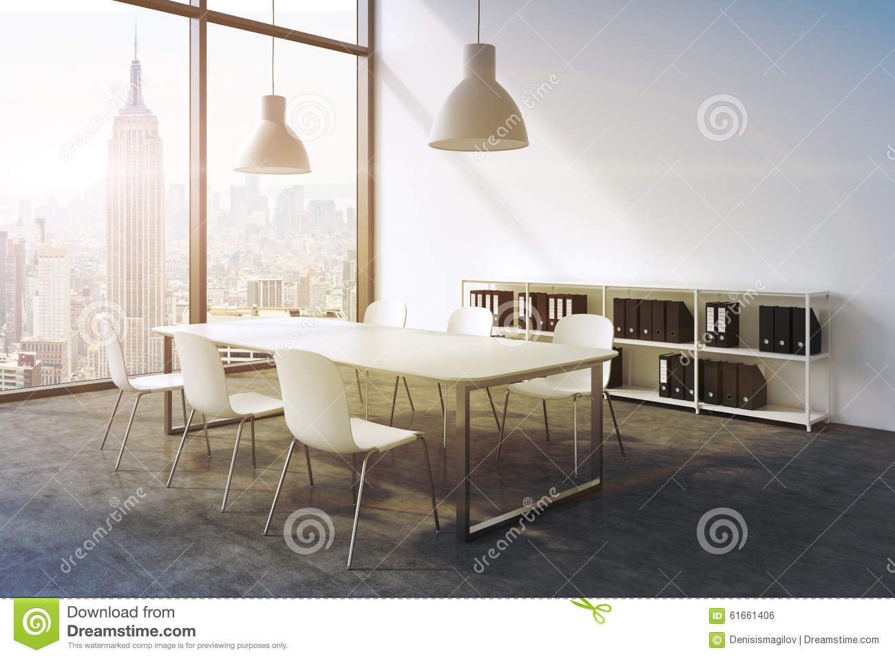A Conference Room In A Modern Panoramic Office In New York