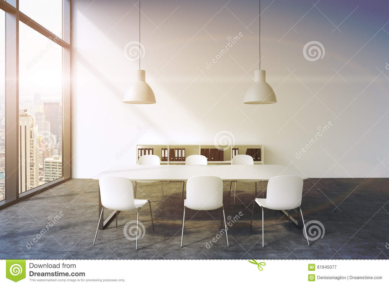 A conference room in a modern panoramic