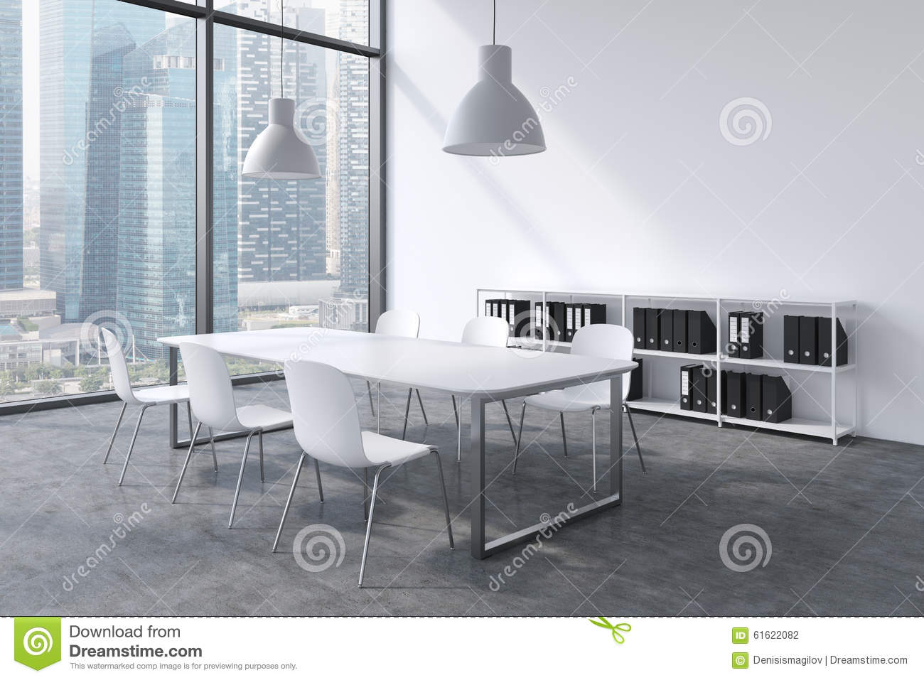 A Conference Room In A Modern Panoramic Office With