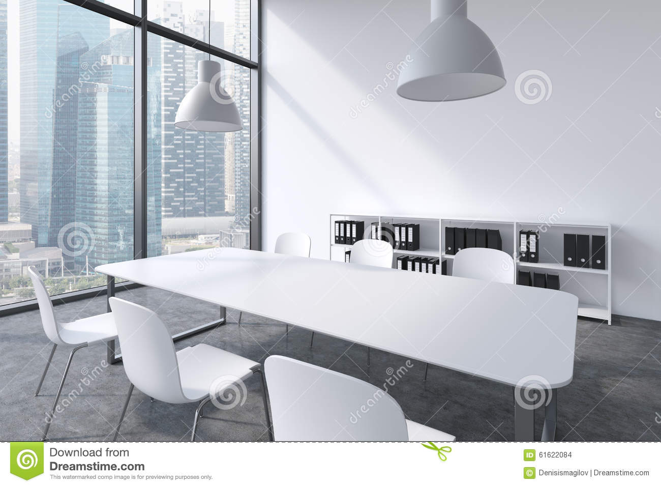 Picture of: A Conference Room In A Modern Panoramic Office With Singapore View White Table White Chairs A Bookcase And Two White Ceiling Li Stock Illustration Illustration Of Business Cityscape 61622084