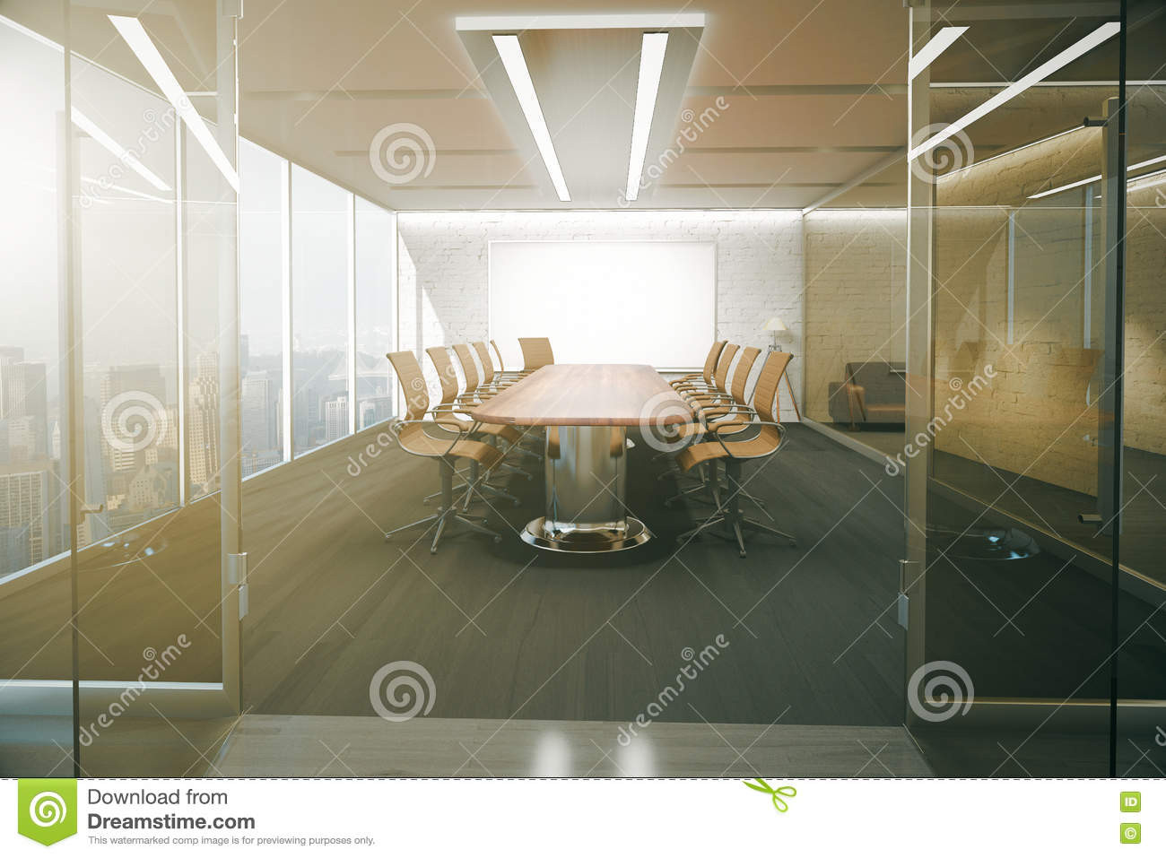 Conference room stock illustration illustration of Opening glass walls