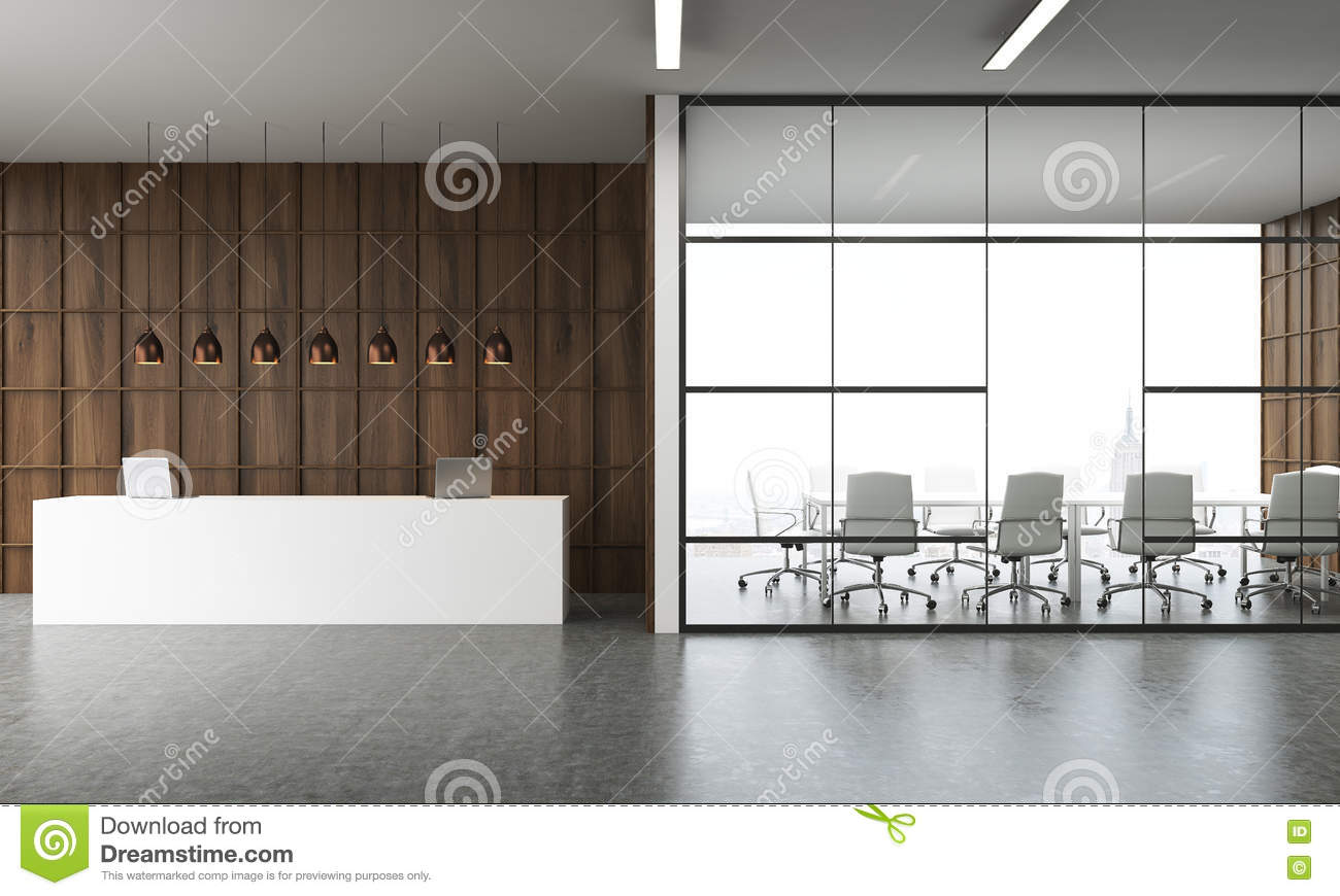 Conference Room And Reception In Lobby Stock Illustration Illustration Of Design Corporate 75065143