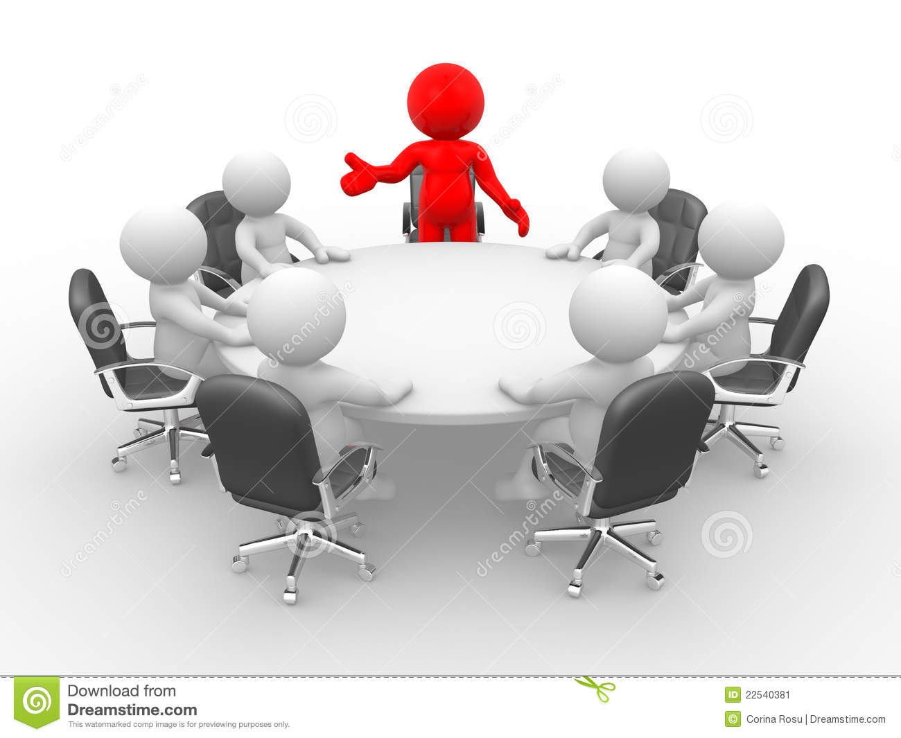 Round table discussion - Leadership And Team At Conference Table This Is A 3d Render