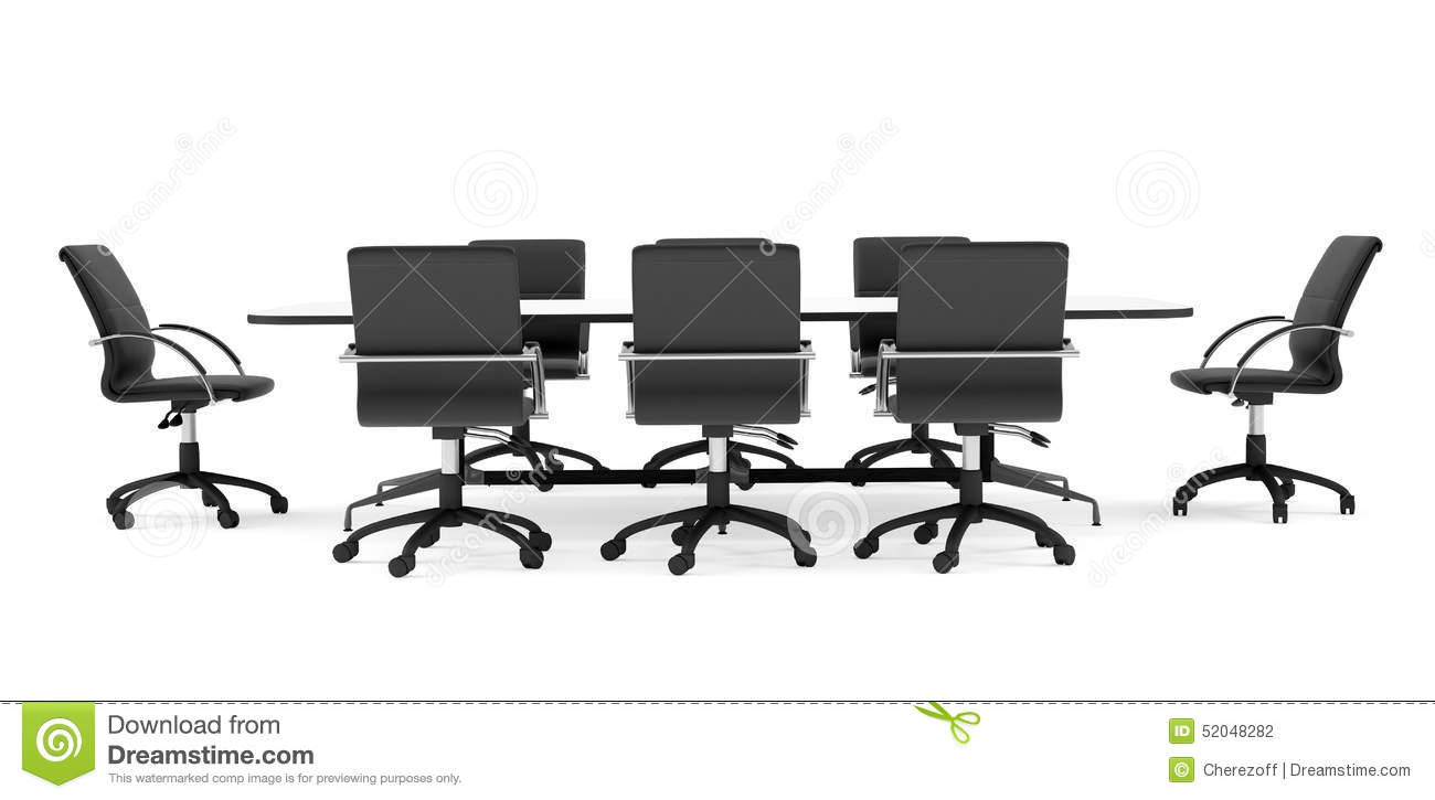 Conference Table And Black Office Chairs. Front Stock ...