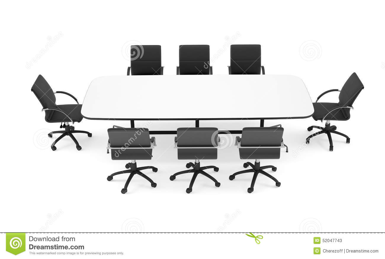 Table and chairs top view - Conference Table And Black Office Chairs Top View Stock Photo