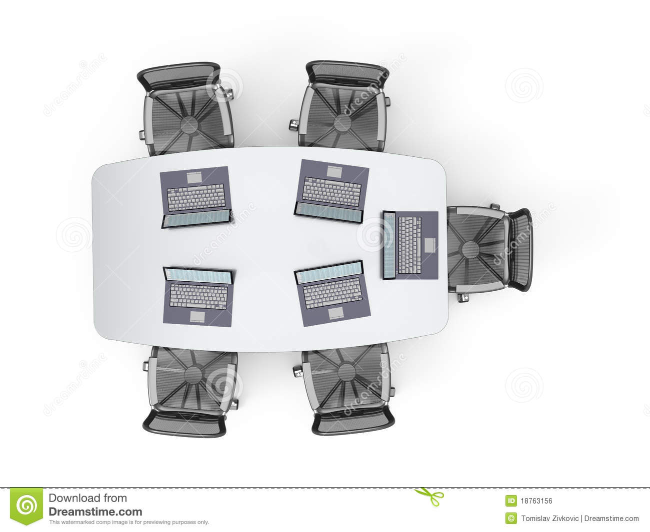 Conference Table With Laptops Royalty Free Stock Image