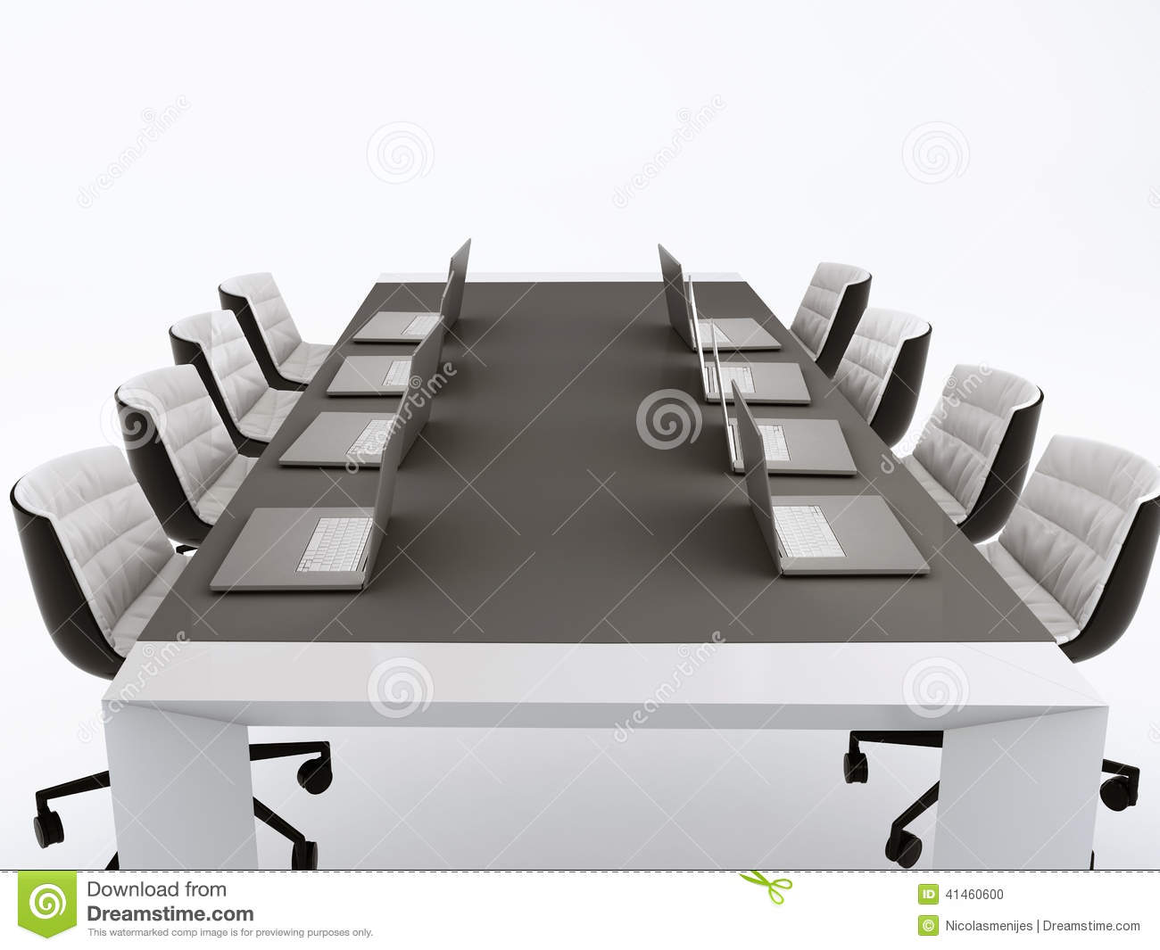 Conference Table And Meeting Room 3d Illustration