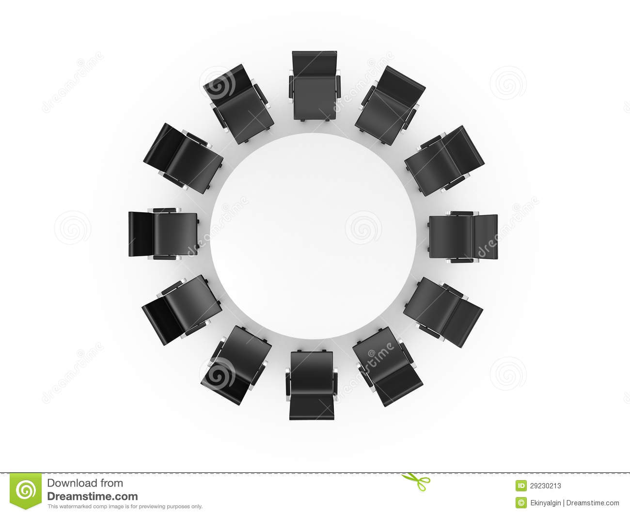 Table and chairs top view - Conference Table And Office Chairs Stock Photos