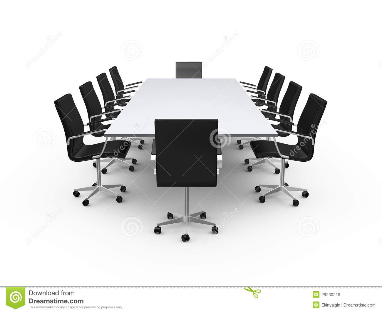 Table and chair top view - Conference Table And Office Chairs Royalty Free Stock