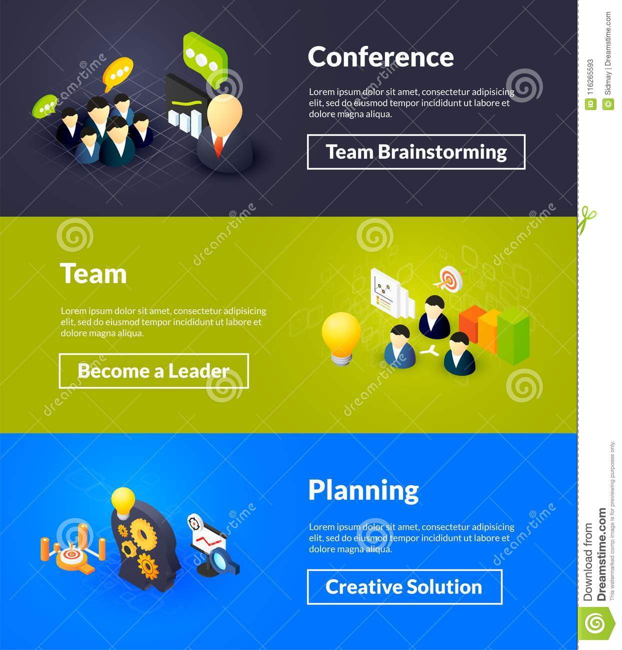 Conference Team And Planning Banners Of Isometric Color Design, Concepts  Vector Illustration For Web Poster Template And Printed Materials, ...