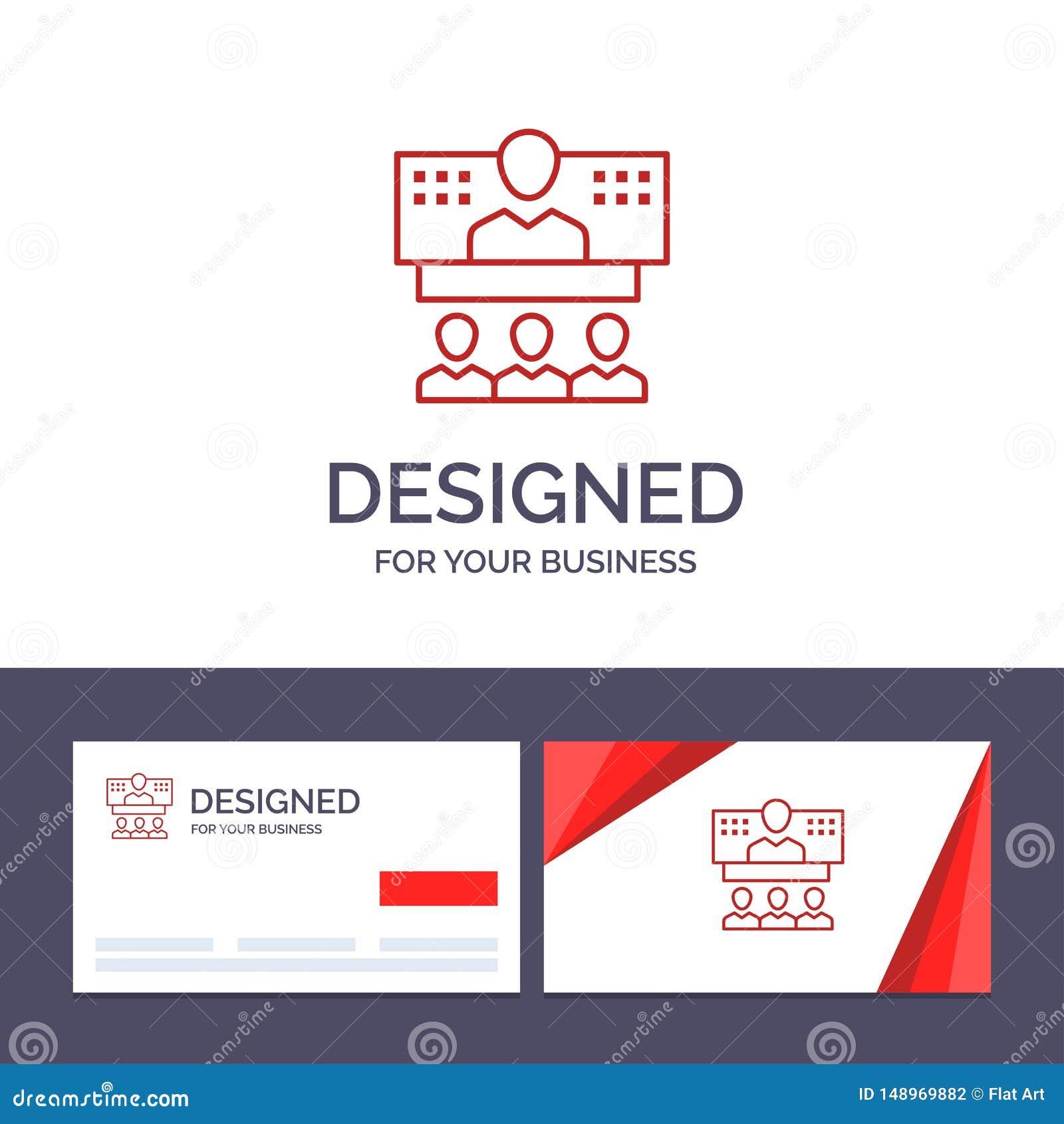 Conferencia de visita de la plantilla creativa de la tarjeta y del logotipo, negocio, llamada, conexión, Internet, ejemplo en lín
