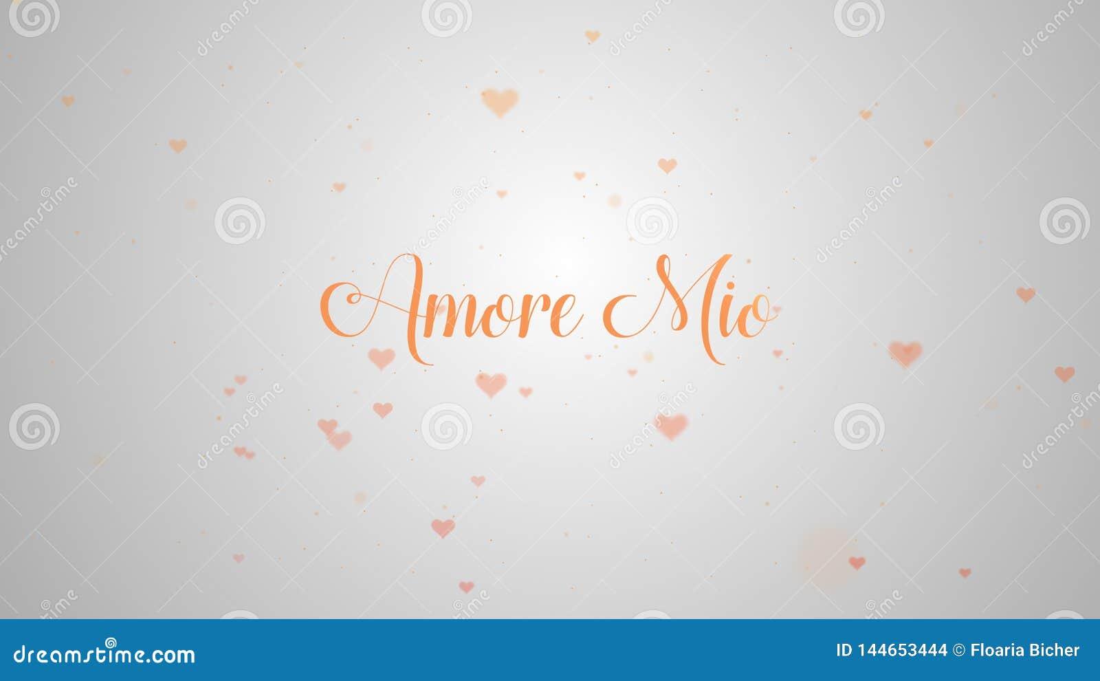 Confession d Amore Mio Love Coeur de Saint-Valentin fait en ?claboussure rose d isolement sur rose-clair embelli avec peu de mign