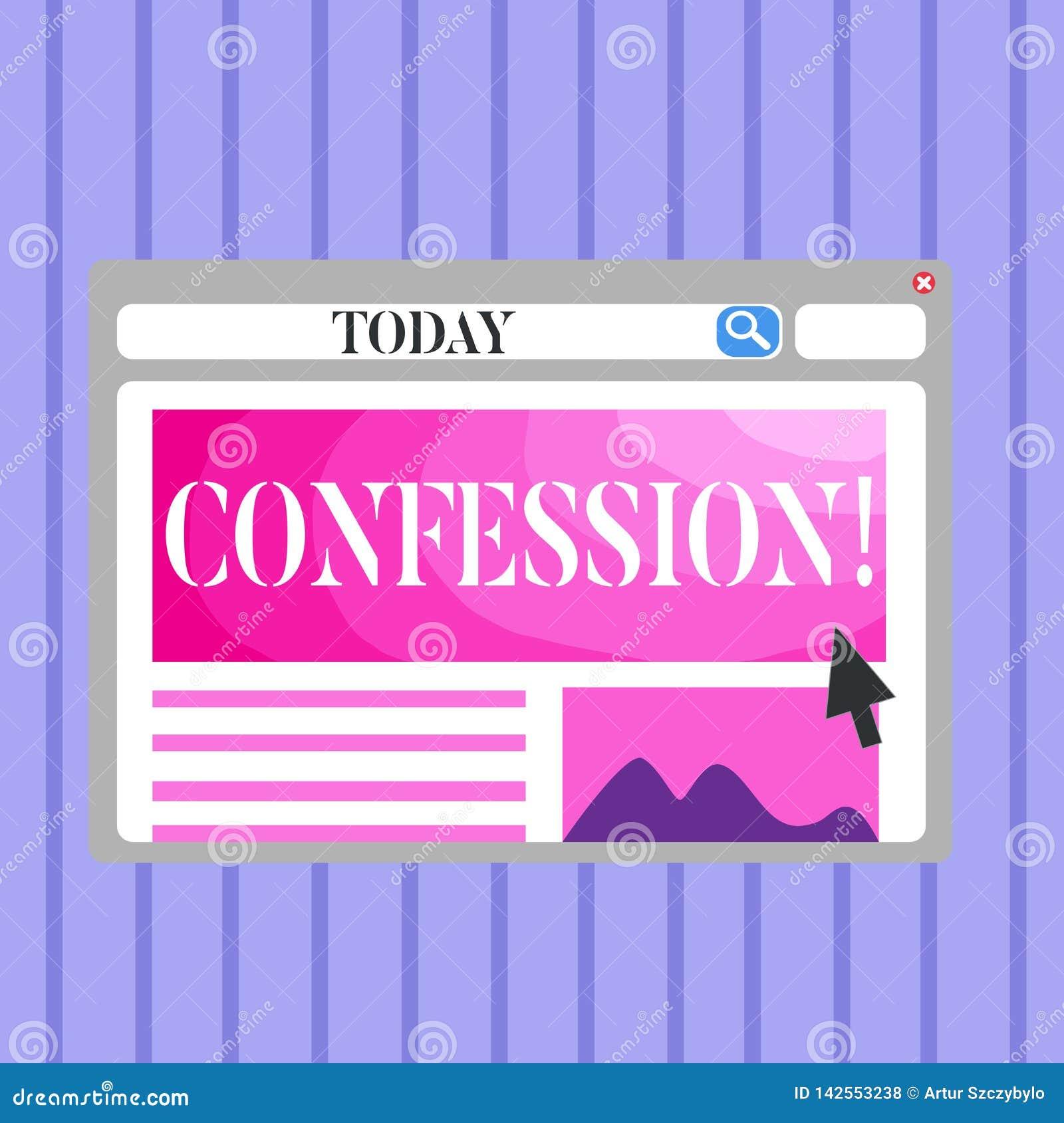 Confession des textes d écriture de Word Concept d affaires pour le blanc d affirmation d expression de Divulgence de révélation