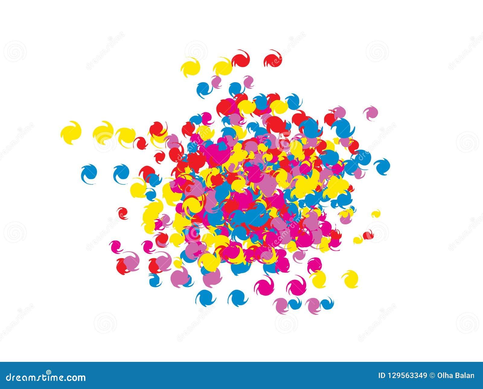 Confeti colorido de los espirales del garabato