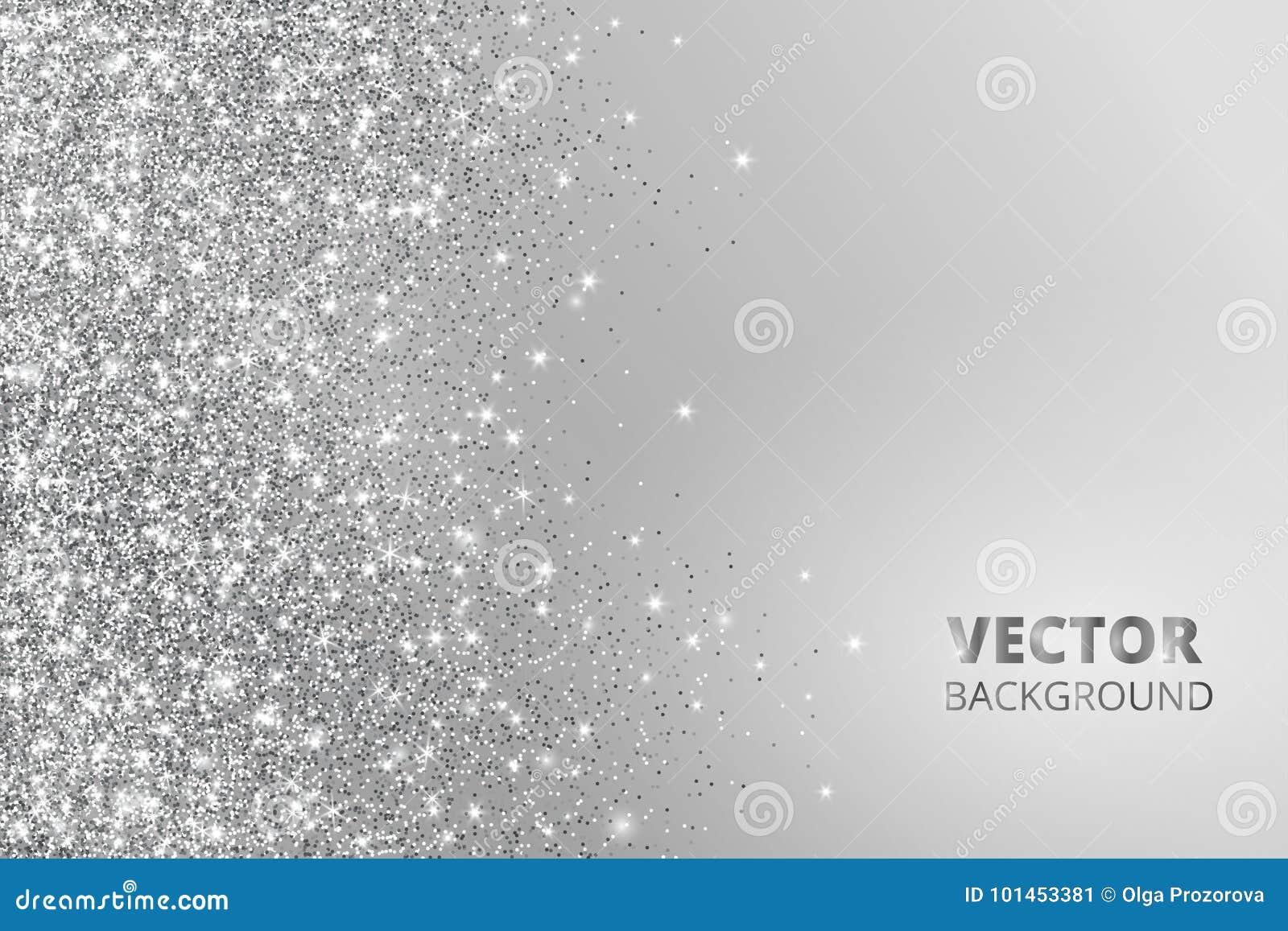 Confeti del brillo, nieve que cae del lado Vector el polvo de plata, explosión en fondo gris Frontera chispeante, marco