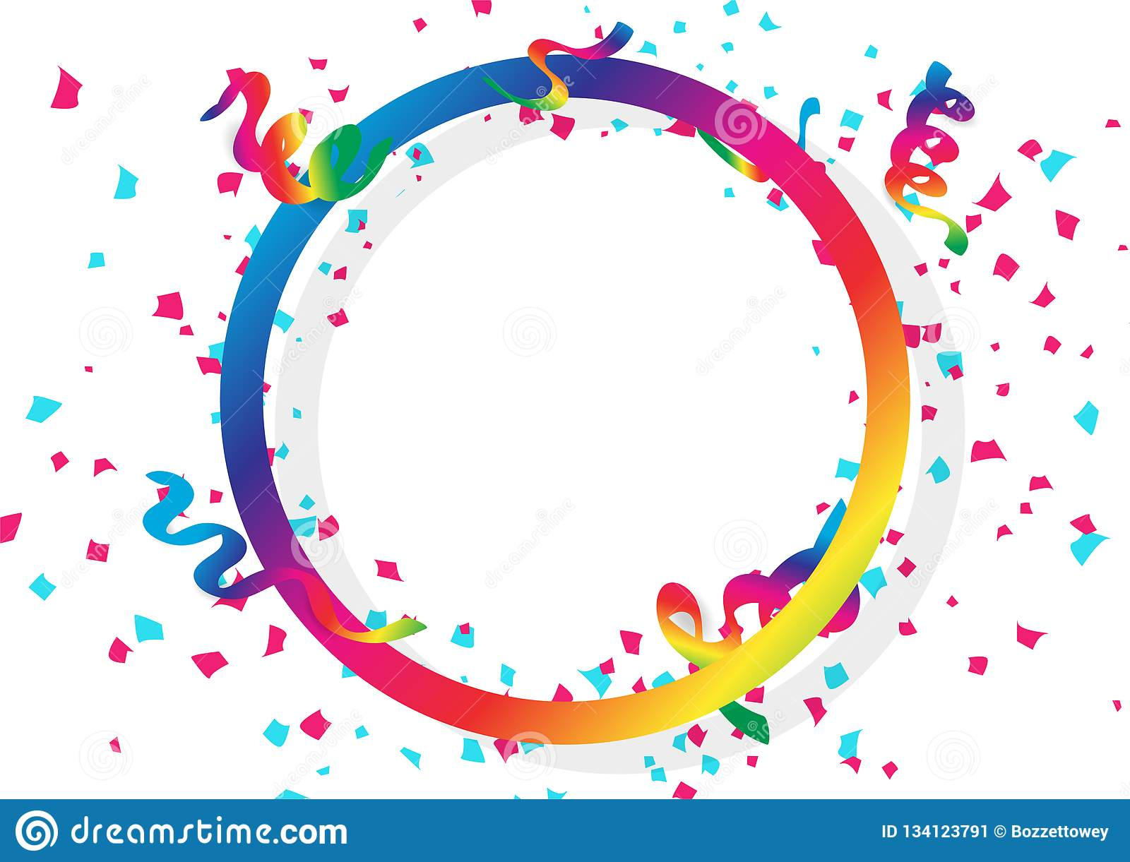 Confetti celebration, ribbons and paper scatter falling with circular ring spectrum rainbow frame using for holidays concept on