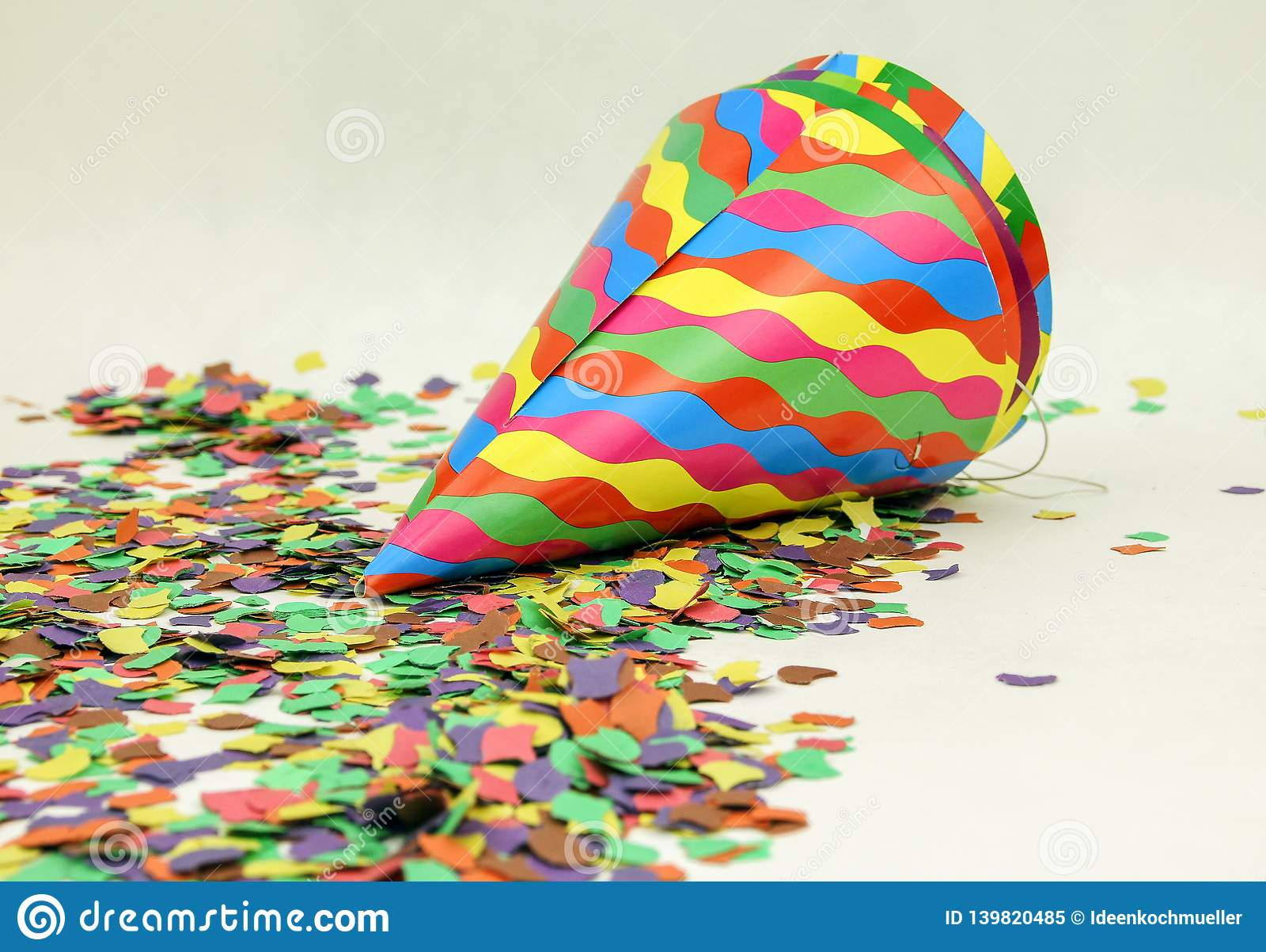 Confetti and colorful hats