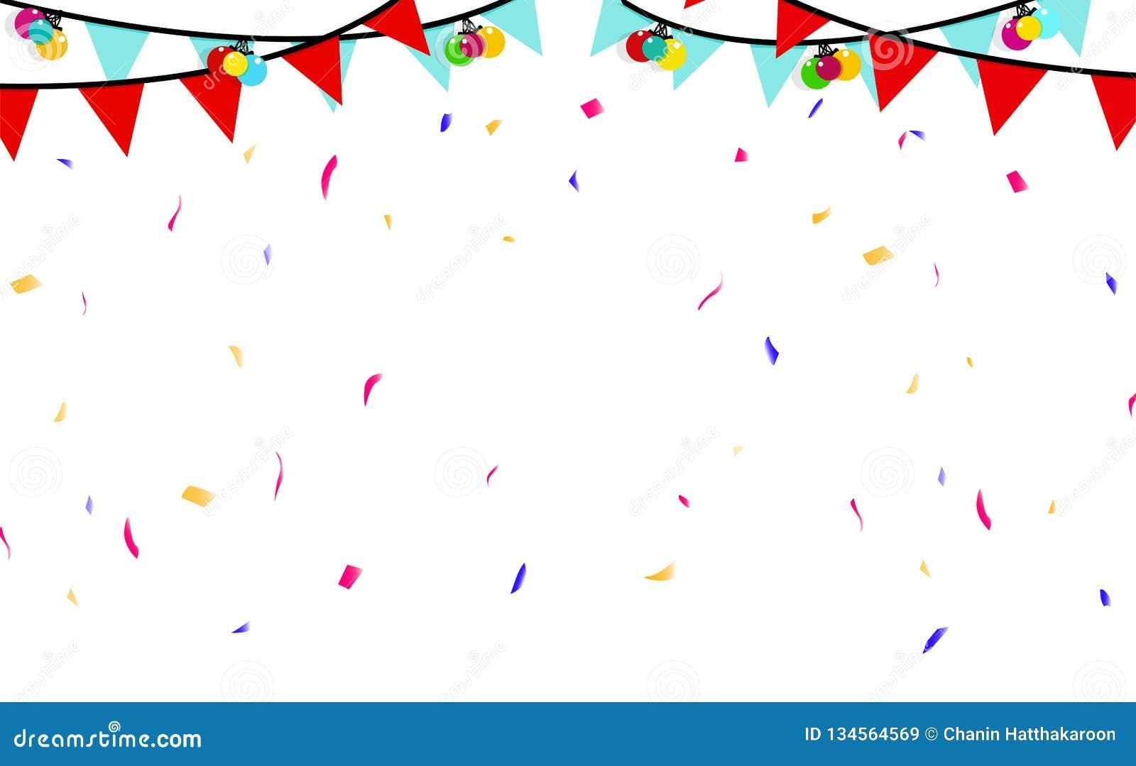 Картинки с конфетти и флажками, поздравление марта