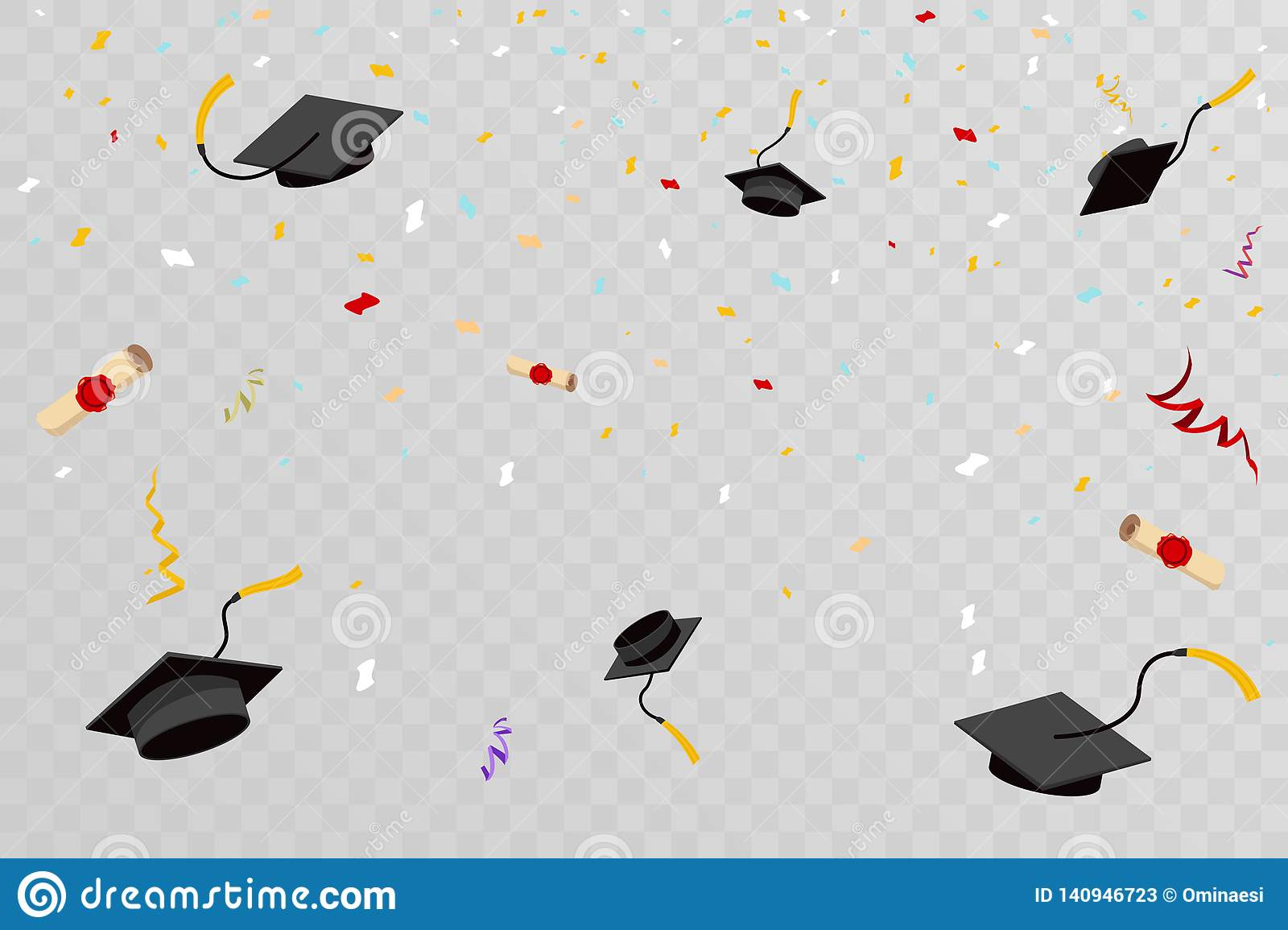 Confetti Graduation Hats Fly In Sky Poster Graduation Caps