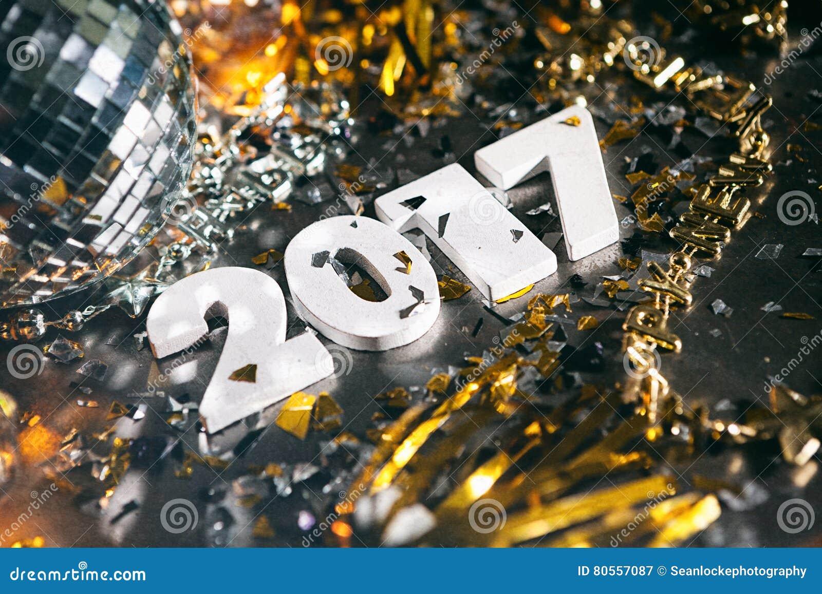 2017 Confetti New Year`s Eve Grunge Background Stock Photo ...