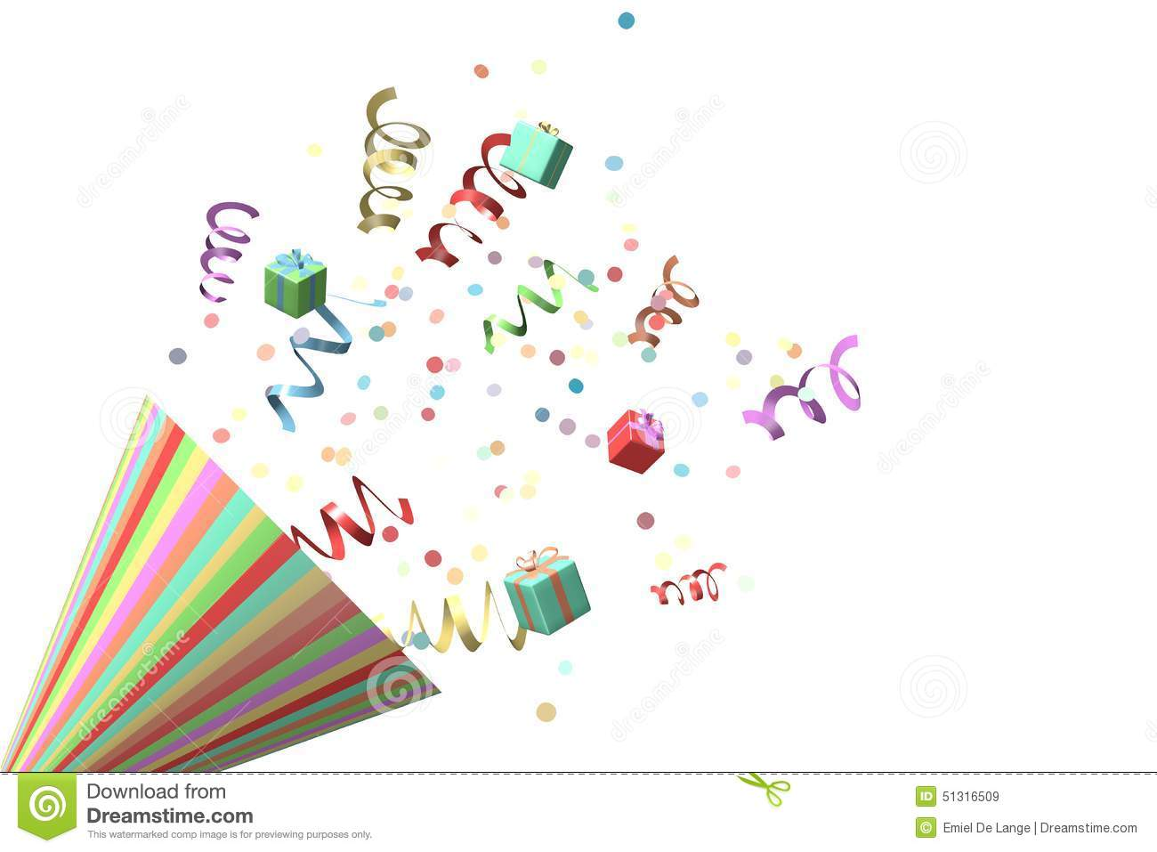 Confetti and a party horn stock illustration. Illustration ...