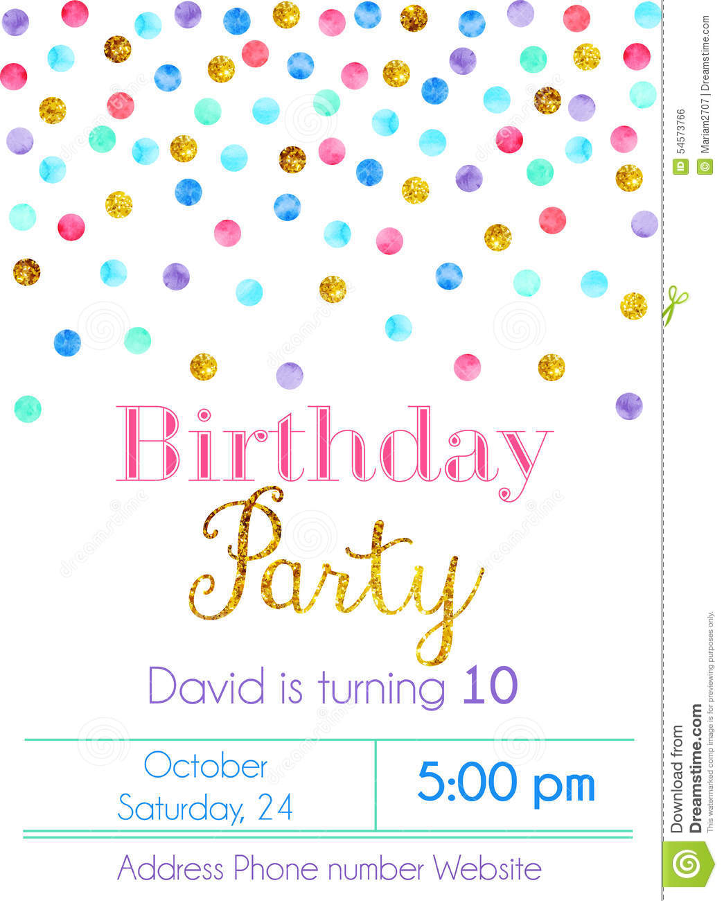 Confetti Party Invitation Card Stock Vector Image 54573766