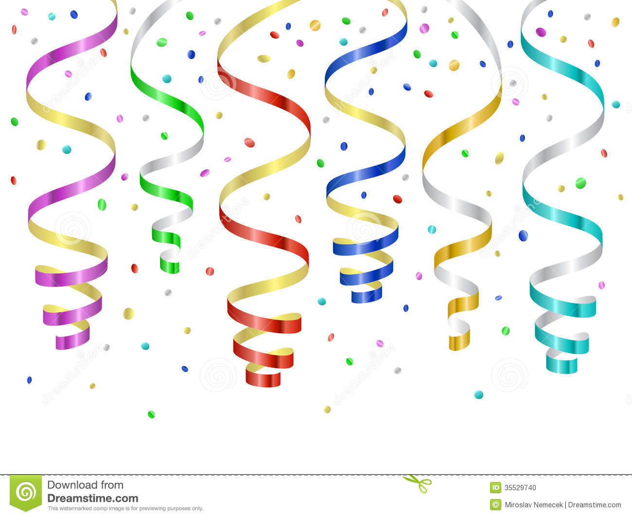Confetti And Serpentines, Curled Streamers Stock Photo - Image ...